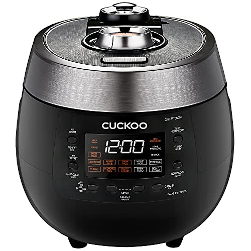 Cuckoo CRP-RT0609FB - 6 Cups, Twin Pressure Rice Cooker & Warmer - GABA, Scorched, Turbo - High/Non Pressure Steam Options - Made in Korea - Black