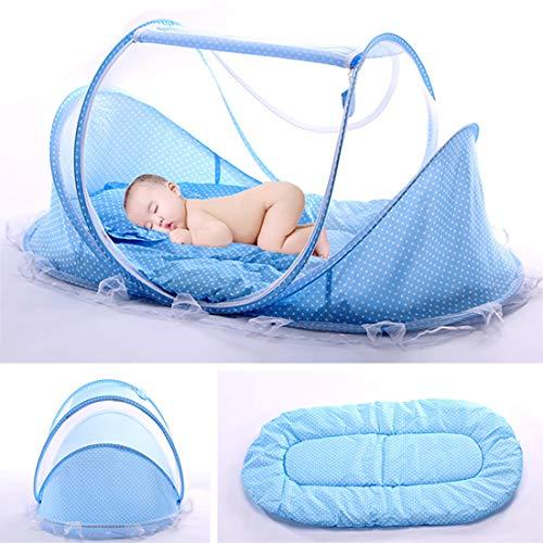 PHYNEDI Babybett, Pop Up Reisebett für Baby Faltbar Kinderbett mit Moskitonetz und Matratze Leicht Krippe für 0-3 Jahre Baby, 110 * 65 * 60cm, Blau