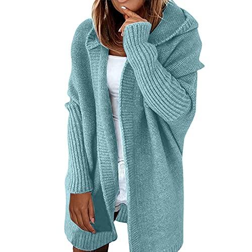 Shopler Chunky Cardigans - Suéter de punto para mujer con capucha y parte delantera abierta, verde menta, XL