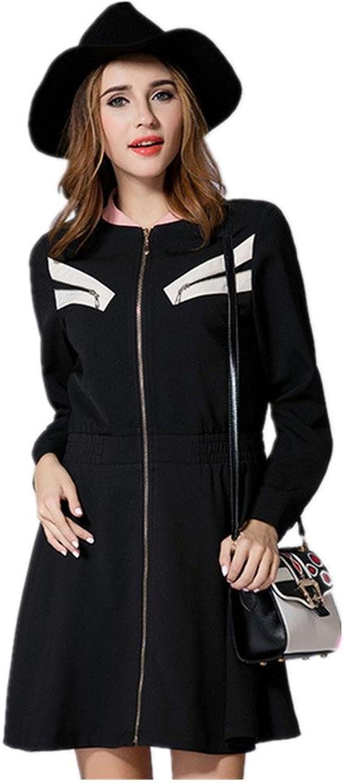 Large Size New Women's Zipper Longsleeved Dress , 3xl