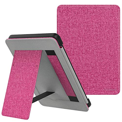 MoKo Case Fits Kindle Paperwhite (10th Generation, 2018 Releases), Lightweight PU Leather Cover Stand Shell with Hand Strap for Amazon Kindle Paperwhite 2018 E-Reader - Magenta
