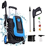 mrliance 3300PSI Pressure Washer,2.6GPM Compact Power Washer 1800W High Pressure Washer with 4 Nozzles&Soap Bottle for Cleaning Cars Houses Driveways Fences Patios Garden (Blue)