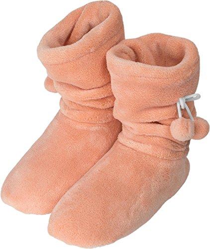 Damen-Fleece-Hausschuhe mit Rutschfester Sohle und Bommeln am Schaft Farbe Apricot Größe 39-42