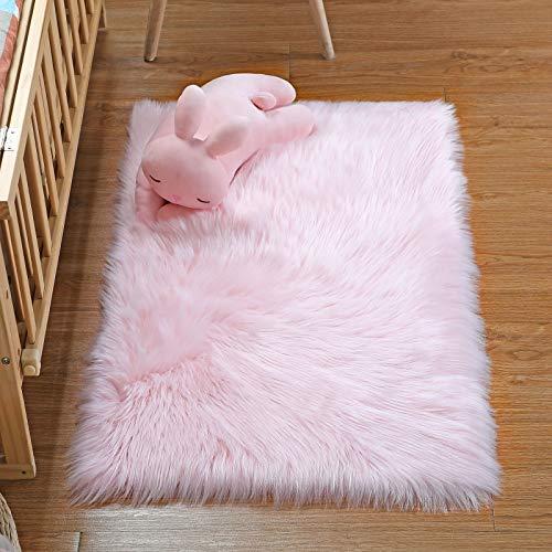 YIHAIC Peau de mouton synthétique,Cozy Sensation comme véritable laine Tapis en fourrure synthétique, Man-made luxe Laine Tapis de Canapé Coussin (Rose, 60x90cm)
