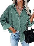 Camisetas de la Cordura for Mujer con Cuello en V botón de Manga Larga túnica de Manga Larga Tops for Mujeres con Blusa de Bolsillo Casual Roll Up Up Up Duffed Tops (Color : Lake Green, Size : S)