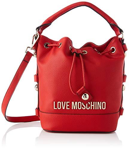 Love Moschino Precollezione ss58, Borsa a Secchiello da Donna, Lettering Logo, Rosso, Normal