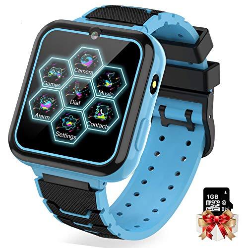 Reloj Inteligente Niño con Mp3 Musica - 7 Juegos Smartwatch Niños, Reloj Inteligente Niña, Relojes Smart Realiza Llamada de Cámara Alarma Calculadora Linterna, Niños de 3 a 12 Años (W/ 1G SD Card)