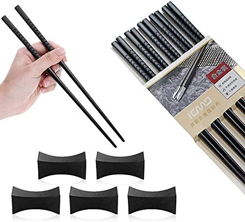 U/D Palillos de aleación, 5 juegos de palillos de aleación de alta calidad, palillos de acero inoxidable con caja de regalo, palillos chinos de aleación de alta calidad.