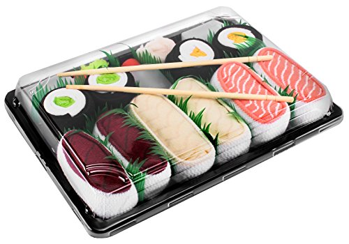 Rainbow Socks - Damen Herren - Sushi Socken Lachs Butterfisch Thunfisch 2x Maki - Lustige Geschenk - 5 Paar - Größen 41-46