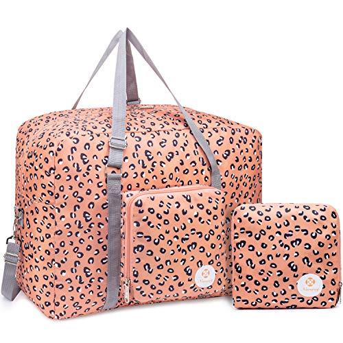 Packbar reseväska duffelväska kappsäck handbagage helg övernattning sport duffel för barn flickor kvinnor (leopard)