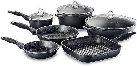 Baccarat Granite Cookware Set 6 Piece Non Stick Cooking Set Cookset - Includes 20cm Frying Pan, 26cm Frying Pan, 28cm Gril...