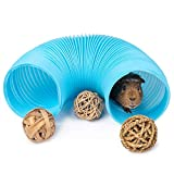 Niteangel Small Animal Foldable Play Tunnel with Fun Toys, 5.9 x 31.5 inches for Guinea Pigs, Rats and Dwarf Rabbits (Blue)