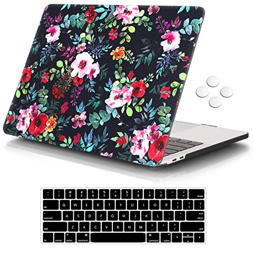 iCasso Case Compatible with Newest MacBook Pro 13 inch 2016-2020 Release A2338M1/A2159/A1989/A1706/A1708, Plastic Hard Shell Case with 5 Rows Keyboard Cover - Blue Rose
