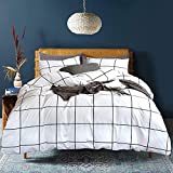 Luxlovery White and Black Comforter Set Twin Grid Bedding Comforter Sets Checkered Buffalo Geometric Blanket Quilts Breathable Soft 3 Pieces Comforter Sets for Twin Bed