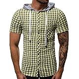 Camiseta Manga Corta Hombre Verano Encapuchado Bolsillo Botón Tartán Camiseta Parte Superior Chaleco Blusa PrecioSoltar