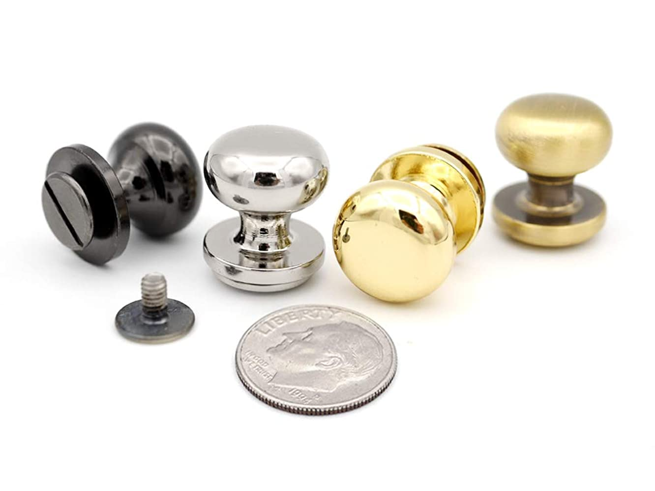 CRAFTMEmore 14MM Metal Ball Head Stud Screw Back Nipple Rivet Studs Button Belt Stopper Quality Leathercraft Pack of 5 (Brushed Brass)