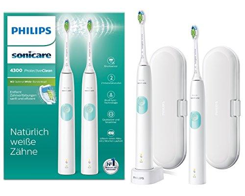 Philips Sonicare ProtectiveClean 4300 Duo elektrische Tandenborstel HX6807/35 - Gezonder tandvlees - Ingebouwde poetsdruksensor -1 Poetstand - Signaal opzetborstel vervangen