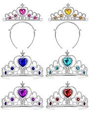 Voarge 6 Pezzi Principessa Corona, Party Accessories per Bambini Bambine Compleanno Festa, Strass Principessa Corona Giocattolo