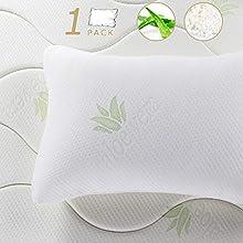 BedStory Almohada Viscoelastica 1 Pack Almohada Aloe Vera 50x75cm Almohada Antiacaros Funda con Cremallera Lavable Conveniencia Espuma Rota Relleno de Almohadas de Hotel