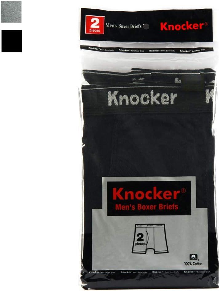 2 Pack Mens Boxer Briefs Underwear 100% Cotton Gray Black Trunk Shorts Size 2XL