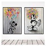 WQHLSH Mickey Mouse abstrakten Graffiti Ballon Leinwand