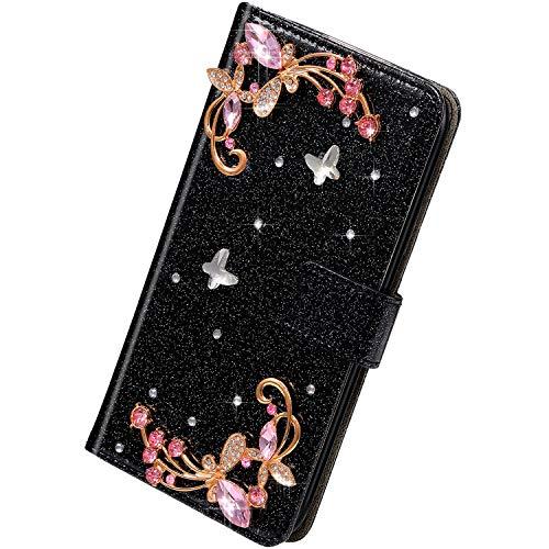 Herbests Kompatibel mit Samsung Galaxy S10 Plus Hülle Leder Handyhülle Schmetterling Glänzend Bling Glitzer Diamant Strass Klapphülle Flip Case Brieftasche Schutzhülle Wallet Tasche,Schwarz
