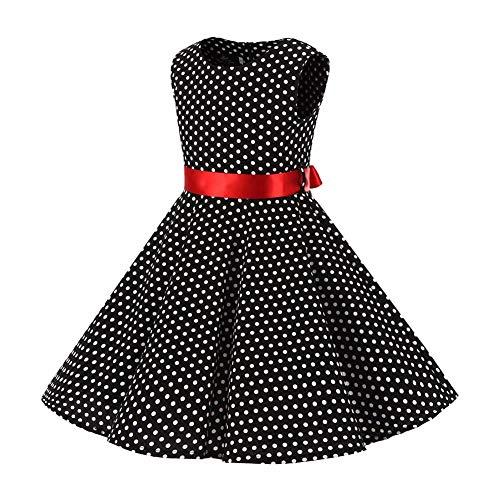 FYMNSI Vestido para niña de los años 50, vintage, rockabilly, de lunares, para noche, cumpleaños, fiesta, estilo años 50, negro + rojo, 11-12 Años