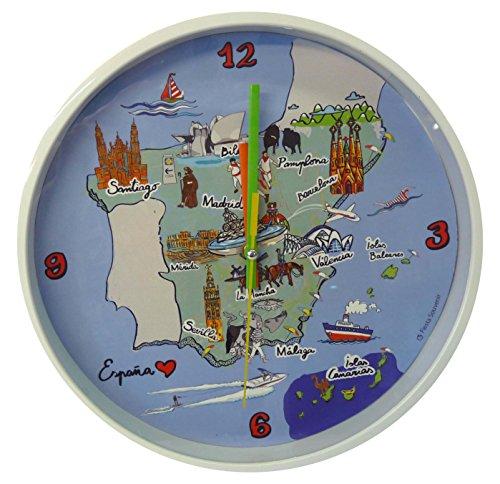 Nadal Uhr groß Karte Spanien, Mehrfarbig, 24,9x 24,9x 3,9cm