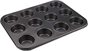 Kasachoy Muffin Pan Cupcake Set, Mini 12 Cups Muffin and Cupcake Pan, BPA Free Food Grade non-stick coating Molds with 12 Silicone Baking Cups