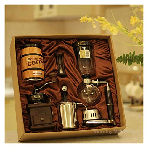 Siphon Coffee Maker Gift Pack Manual Coffee Machine Glass Coffee Pot Business Including Hand Mill, Milk Frother Send Friends Family Gifts Kitchen Home