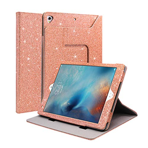 iPad 9.7 2017/2018 Case Glitter, CASZONE [Detachable Multi-Angle Kickstand] Luxury Faux PU Leather Magnetic Front Cover with Auto Sleep/Wake Cases for iPad Air 1/2 9.7inch,iPad Pro 9.7 2016- Rose Gold
