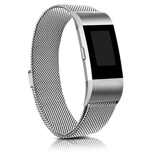 Demark Kompatibel für Fitbit Charge 2 Armband, Edelstahl Magnetschloss Ersatzarmbänder Kompatibel für Fitbit Charge 2, Männer Frauen (Silber, Small)