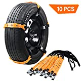 "VeMee Snow Chains for Car Snow Tire Chains Car Safety Chains Emergency Traction Adjustable Chains Universal Anti Slip TIRE Snow MUD Chains 10pcs Car,SUV, Truck Width 7.3""-11.7""(185mm-295mm) (Yellow1)"