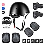 DaCool Kids Helmet Pad Set Elbow Knee Wrist Pads for Sports Adjustable Safety Set for Kids 3~8yrs Toddler Child Helmet Small Bike Rollerblading Skating Roller Scooter Cycling Outdoor Sports, Black