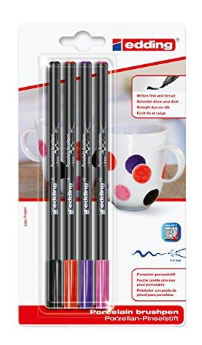 edding 4200 Porzellanpinselstift - bunte Farben - 4 Stifte - Pinselspitze 1-4 mm - Filzstift zum Beschriften, Dekorieren von Keramik Porzellan - spülmaschinenfest lichtechte Tinte, schnell trocknend
