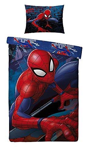 Parure de lit Enfant Spiderman - Housse de couette réversible + taie 140x200 + 63x63 cm