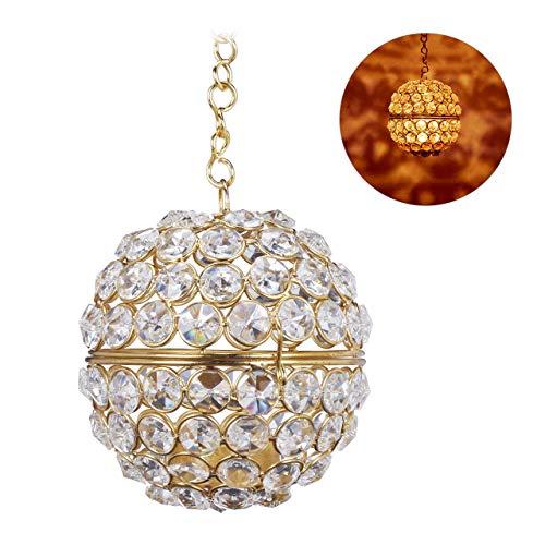 Relaxdays theelichthouder hangend, ketting met haken, ronde theelichthouder, kristal, H x D: 49,5 x 10,5 cm, goud, 1 stuk