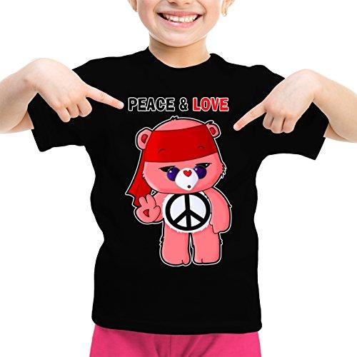 T-Shirt Enfant Fille Noir Bisounours parodique Bisounours : Peace and Love ! (Chibi Version) (Parodie Bisounours)