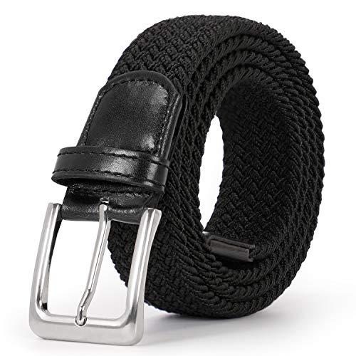 SUOSDEY Unisex Elastischer Stretchgürtel Flechtgürtel Stoffgürtel Geflochtener Taillen Gürtel Schwarz für Damen und Herren,Schwarz,115cm