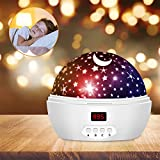 Kids Star Night Light, 360-Degree Rotating Star Projector, Desk Lamp Multi-Colored Changing with USB Cable, Best for Children Baby Bedroom and Party Decorations - White