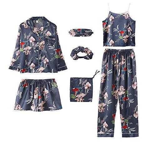 LLKK Conjunto de pijama para mujer con estampado de flores, 7 piezas de seda sexy Cami y pantalones cortos de dibujos animados rayas pijamas pantalones