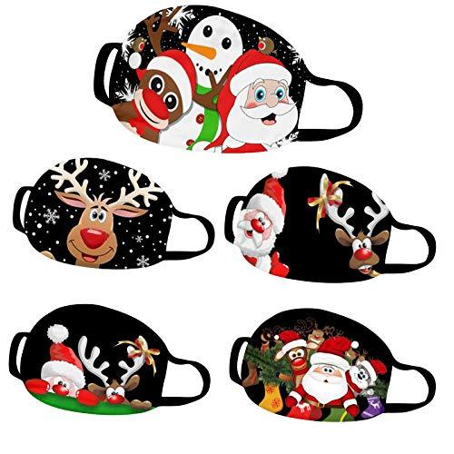 Fuyongkang 5 Stück Mundschutz Waschbar mit Weihnachten Motiv Maske Bandana Waschbar Mund und Nasenschutz Cartoon Druck Maske Tücher Atmungsaktiv Mund-Tuch Bandana Halstuch Schal