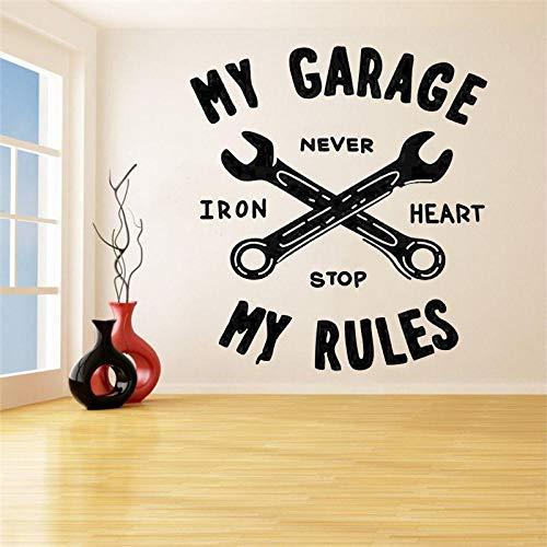 CHTHREEC Mi garaje mis reglas cita pared vinilo calcomanía hogar garaje decoración coche reparación signo pared pegatina garaje cartel extraíble 57 cm x 62 cm