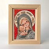 Cuadrito'Virgen Gótica Plateada', 15x20. Reproducción fine-art de la obra de Joan Ferrándiz. Regalo Comunión y Bautizo