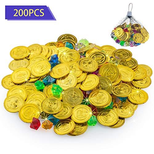 FORMIZON 100pcs Pirat Münzen + 100pcs Piraten Edelsteine, Goldmünzen des Piratenschatz Spielzeugs und Piraten Schmucksteine für Kinder Party Favor Piratenparty Mitgebsel (Goldmünze und Schmucksteine)