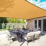 SANDEGOO Sun Shade Sail Rectangle,95% UV Block 185 g/m² Heavy Duty Shade Cloth,Wind -Proof Sun-Proof Sunshade Canopy Over 3 Years Used Outdoor (16' x 18' Rectangle, Sand)