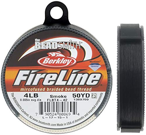 4Lb Fireline Smoke Pre Waxed Beading Thread .005In 0.12mm Diameter 50 Yard