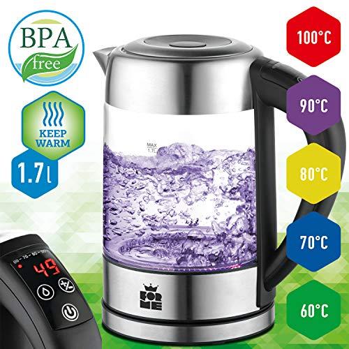 ForMe Hervidores eléctricos Hervidor de Cristal Inoxidable I Control de Temperatura 60-100ºC I 2200W I 1,7 L I Pantalla LED I Función mantener caliente I Libre de BPA (FKG-917)