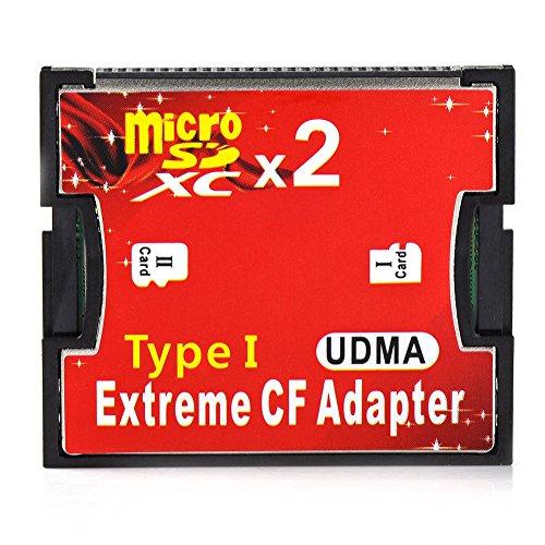 Desconocido RGBS doble puerto Micro SD/SDHC/SDXC TF a Compact Flash UDMA CF tipo 1lector de tarjetas de memoria adaptador para Canon Nikon cámara