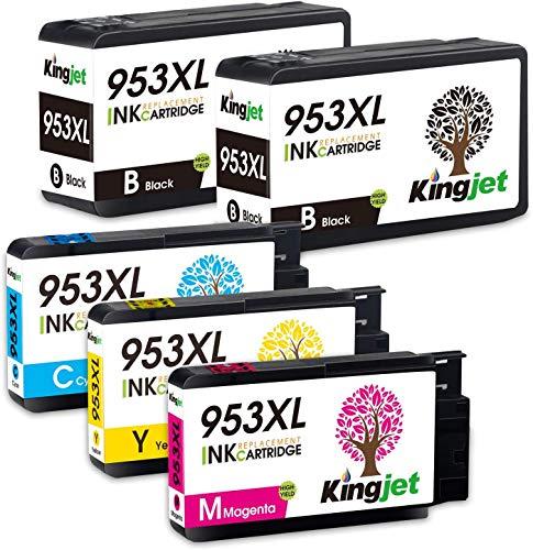 Kingjet New Chip 953XL Cartuchos compatibles de repuesto para HP 953 953XL Cartuchos de impresora para HP Officejet Pro 8710 8720 7740 7720 8718 8715 8210 7730 8725 8218 8728 8730 8740 8719 5 paquete